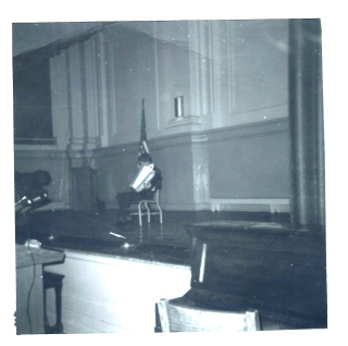 With accordion at Whitney School assembly about 1966